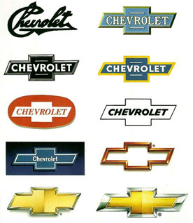 Chevy bow-tie logo through the years