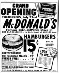 A McDonald's franchise grand opening ad
